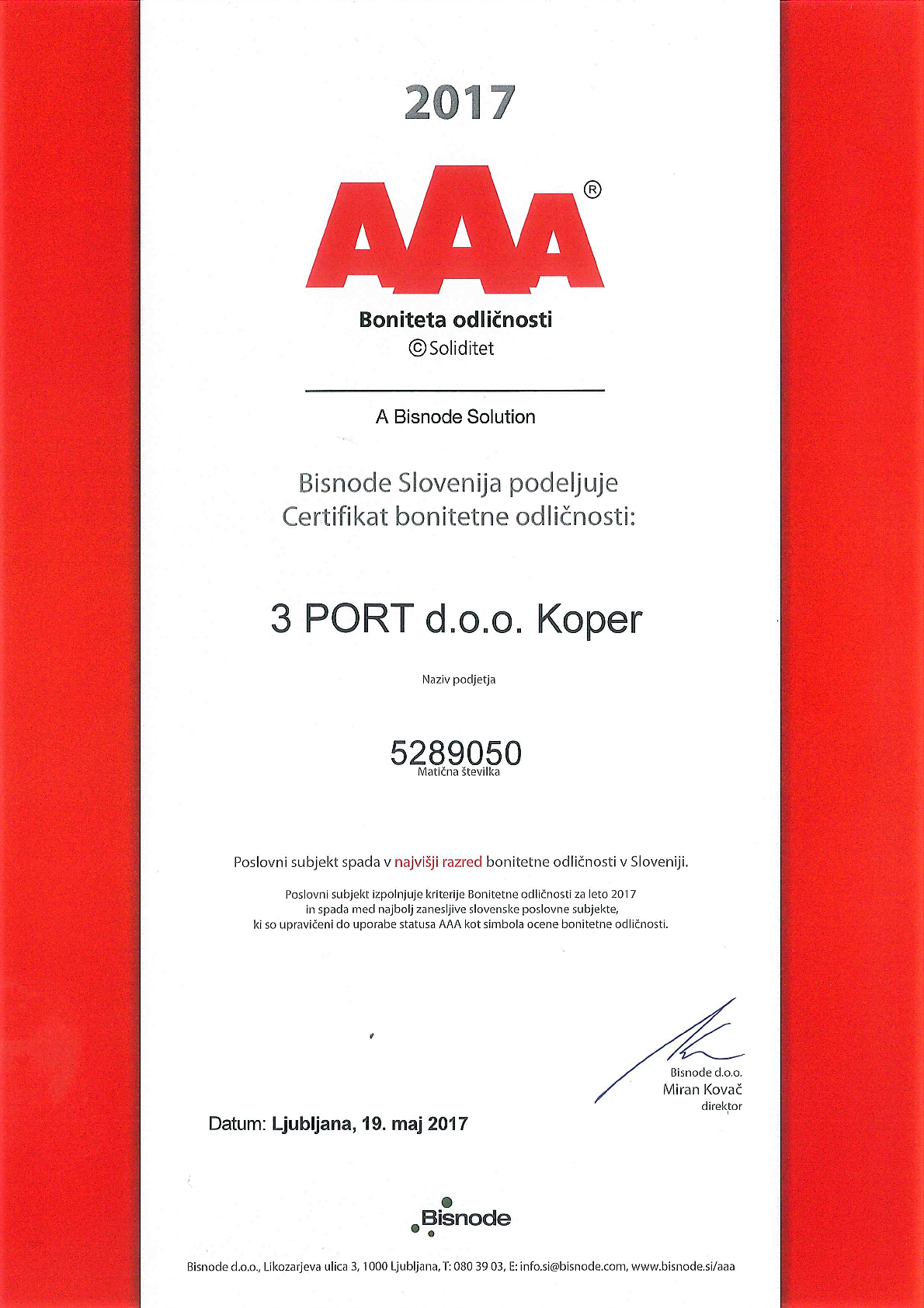 2017 Bisnode AAA certifikat bonitetne odličnosti SLO
