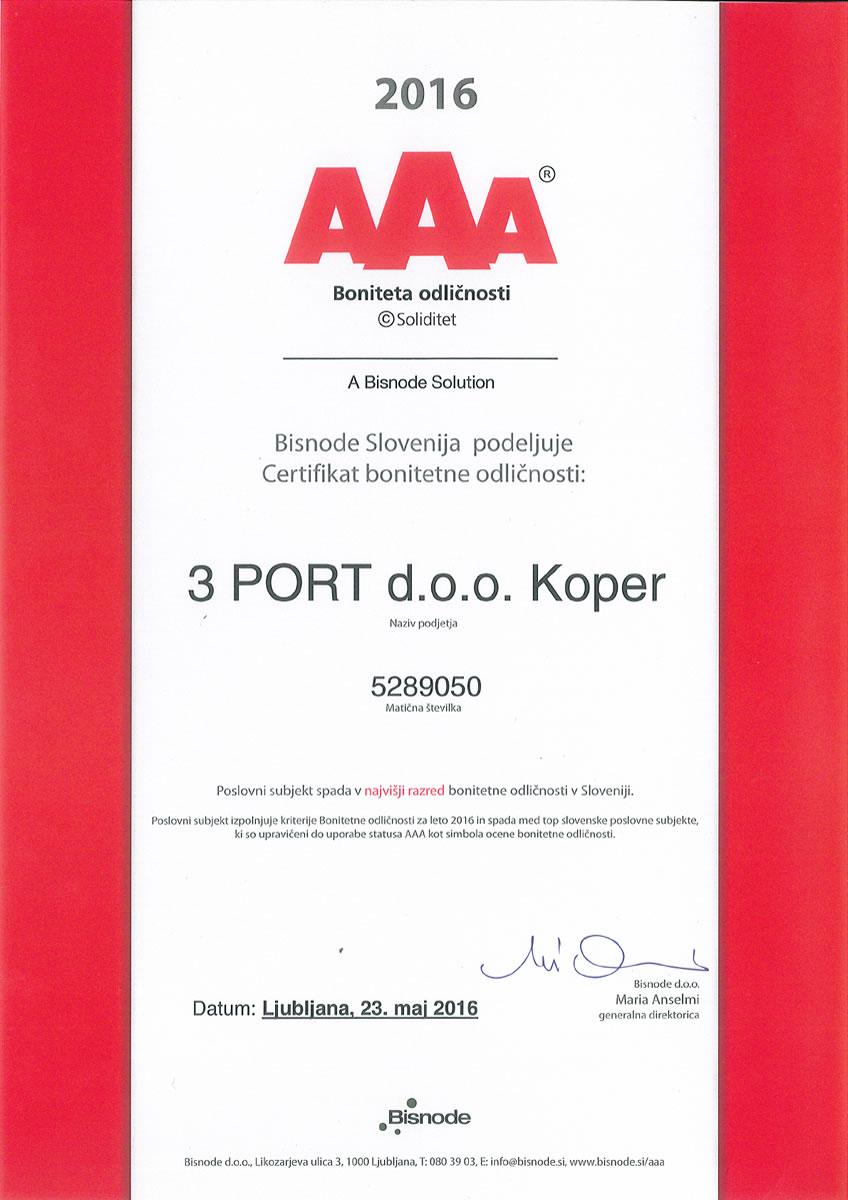 2016 AAA_slo Certifikat bonitetne odličnosti