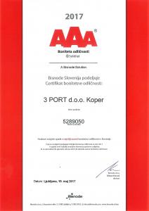 Certifikat Bonitetna odličnost AAA 2017 3 PORT
