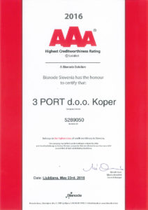 Certificate Creditworthiness AAA 2016 3 PORT