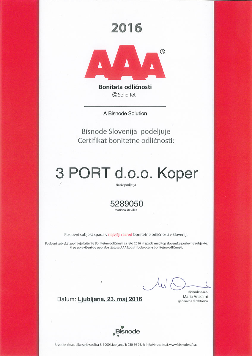 Certifikat Bonitetna odličnost AAA 2016 3 PORT