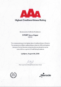 Certificate Creditworthiness AAA 2018 3 PORT