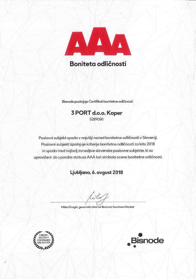 Certifikat Bonitetna odličnost AAA 2018 3 PORT
