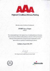 2019 AAA certificate